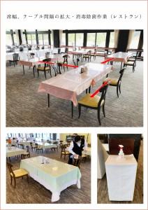 席幅、テーブル間隔の拡大・消毒除菌作業(レストラン)